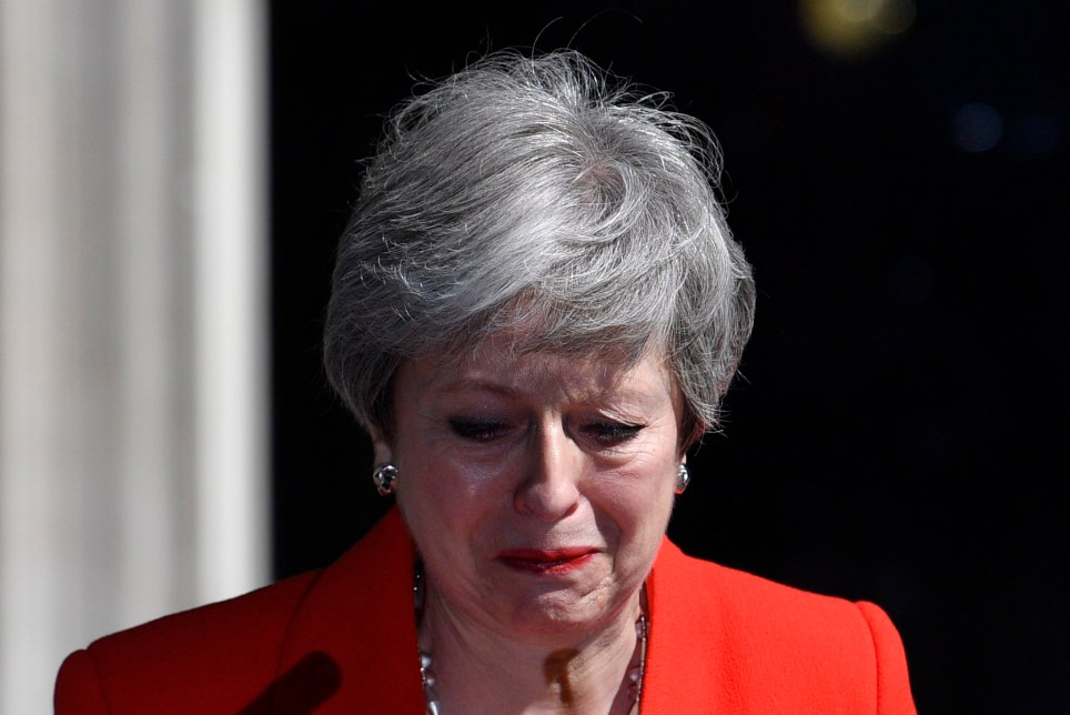 epa07596515 Britain's Prime Minister Theresa May makes a statement on at Downing Street in London in Britain, 24 May 2019. May announced she would resign from office on 07 June 2019. Amid the gridlock with MPs over her handling of Brexit, in her latest bid to get Brexit through Parliament, Theresa May on 21 May unveiled a new Withdrawal Agreement Bill, including a possible second referendum, a proposal not supported by ministers and unacceptable to Conservative eurosceptics. EPA/NEIL HALL