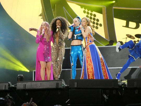The Spice Girls have kicked off their long-awaited reunion tour, as they take to the stage for their first performance in Dublin, Ireland. Emma Bunton, 43, Geri Horner, 46, Mel Brown, 43, and Mel C, 45. Pictured: The Spice Girls Ref: SPL5093374 240519 NON-EXCLUSIVE Picture by: SplashNews.com Splash News and Pictures Los Angeles: 310-821-2666 New York: 212-619-2666 London: 0207 644 7656 Milan: 02 4399 8577 photodesk@splashnews.com World Rights,