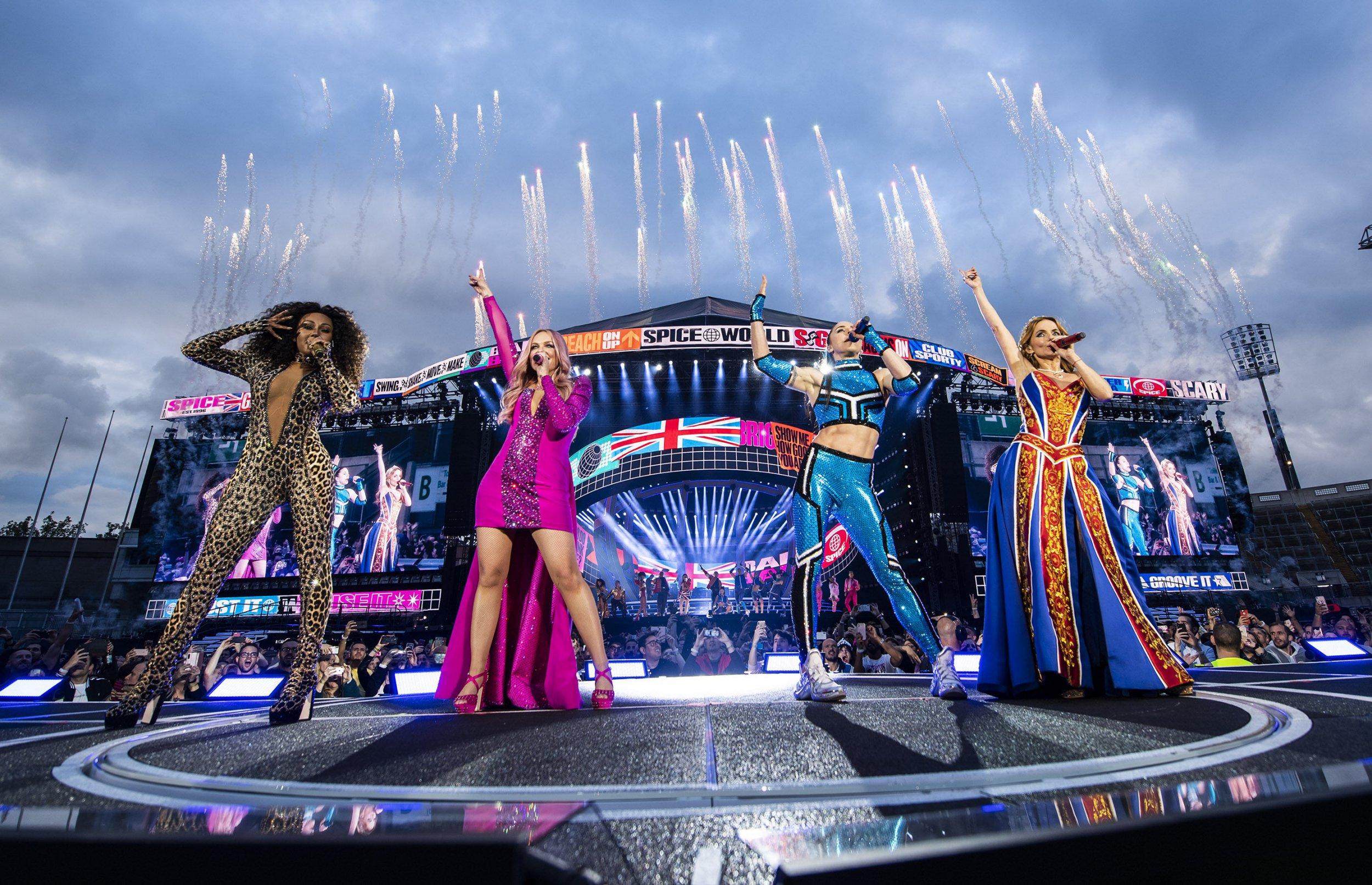 Melanie Brown, Emma Bunton, Melanie Chisholm and Geri Horner of a Spice Girls in unison during Croke Park in Dublin