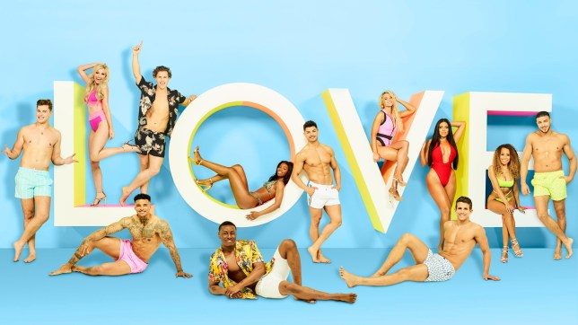 Love Island 2019 cast line-up posing on a logo that says love