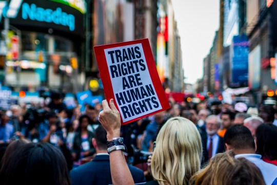 TIMES SQUARE NYC, NEW YORK CITY, NEW YORK, UNITED STATES - 2017/07/26: On July 26, 2017, after a series of tweets by President Donald Trump, which proposed to ban transgender people from military service, thousands of New Yorkers took the streets of in opposition. Thousands of transgender soldiers are currently serving in all branches of the United States Armed forces. (Photo by Michael Nigro/Pacific Press/LightRocket via Getty Images)
