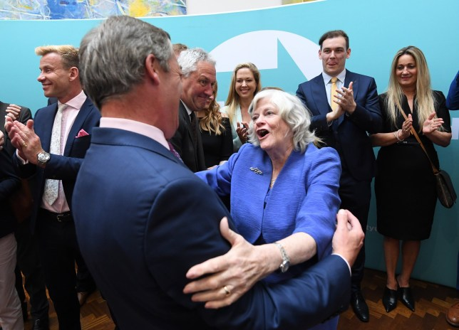 epa07606148 Brexit Party leader Nigel Farage is being greeted by Brexit Party's Member of the European Parliament, Ann Widdecombe (R) during a press conference following his win in the European Union elections, in London, Britain, 27 May 2019. The Brexit Party scored a resounding win in the European Parliament elections, winning at least 32 percent of the vote. EPA/FACUNDO ARRIZABALAGA