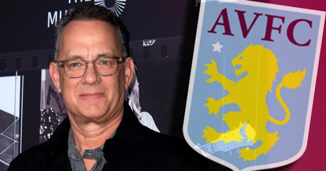 Tom Hanks with the Aston Villa FC logo