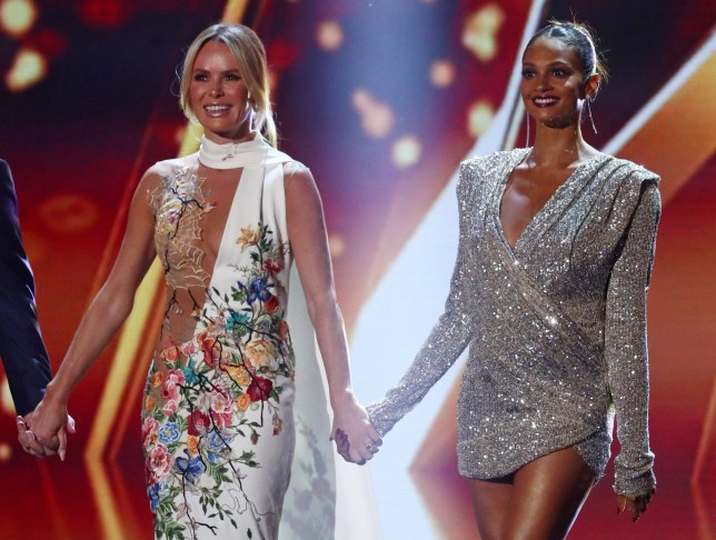 Editorial Use Only. No Book Publishing. Mandatory Credit: Photo by Dymond/Thames/Syco/REX (10255734ce) Amanda Holden and Alesha Dixon 'Britain's Got Talent' TV Show, Series 13, Episode 11, UK - 29 May 2019