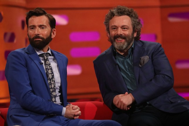 (left) David Tennant and Michael Sheen during the filming for the Graham Norton Show at BBC Studioworks 6 Television Centre, Wood Lane, London, to be aired on BBC One on Friday evening. PRESS ASSOCIATION Photo. Picture date: Thursday May 30, 2019. Photo credit should read: PA Images on behalf of So TV