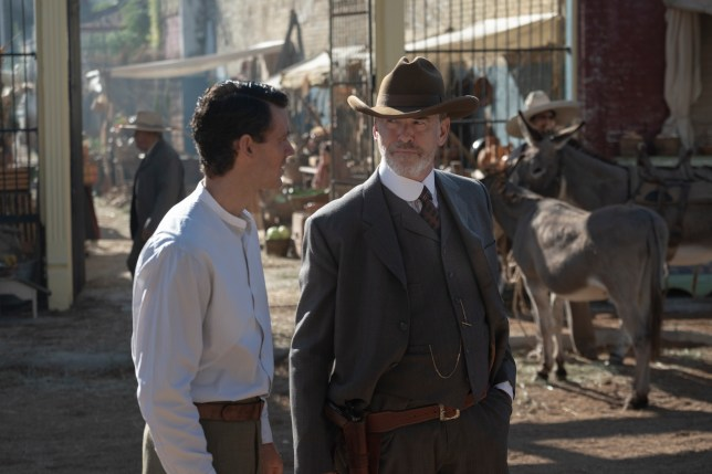 Pierce Brosnan as Eli McCullough, Henry Garrett as Pete McCullough - The Son _ Season 2, Episode 1 - Photo Credit: Van Redin/AMC