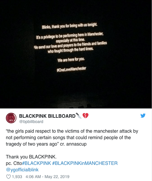 BLACKPINK pay tribute to Manchester Arena victims at UK tour date