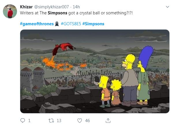 Tweet about the Game of Thrones episode of the Simpsons