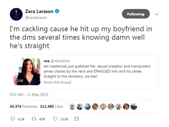 Zara Larsson Apologises To James Charles Following Boyfriend