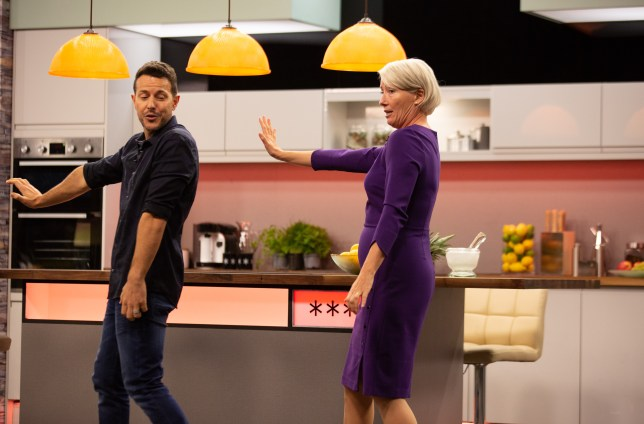 Emma Thompson and Lee Latchford-Evans perform Steps routine Tragedy (Picture: BBC)