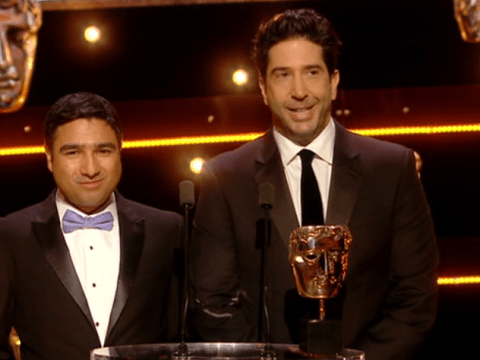 David Schwimmer mocks diversity in Friends at Bafta TV Awards and teases Courteney Cox's pay packet