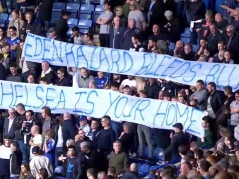 Chelsea fans produce banner begging Eden Hazard to stay during Leicester match