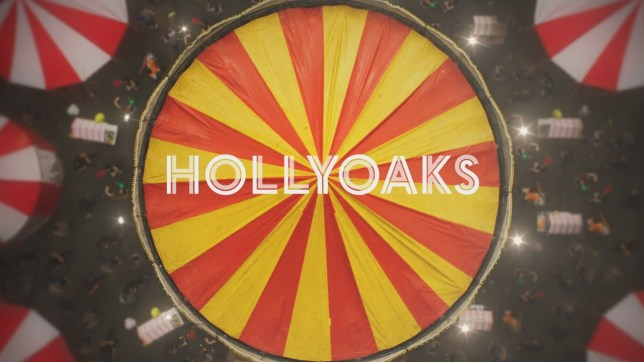 Hollyoak logo from opening titles showing the top of red and yellow tent