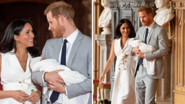 Harry and Meghan beam as they show off their new son
