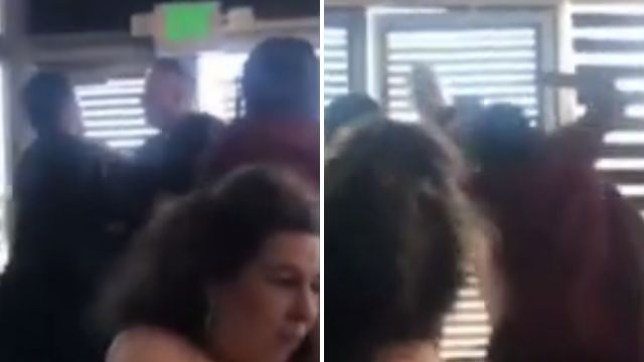 The woman in red pictured right initially tries to stop the racist customer fighting another man at a Long Beach sushi restaurant - but ends up punching him herself