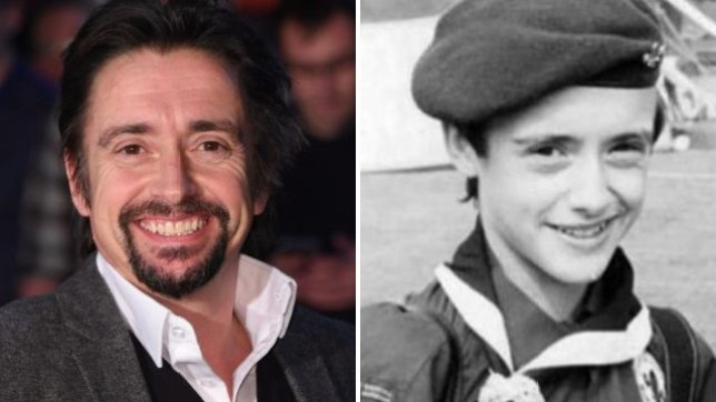 Richard Hammond now and boy scout, black and white throwback photo