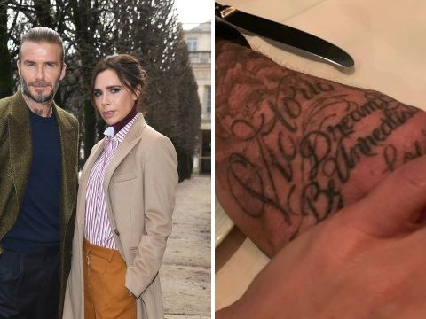 Victoria Beckham reminds us all of David's huge tattoo of her name as she celebrates husband's birthday