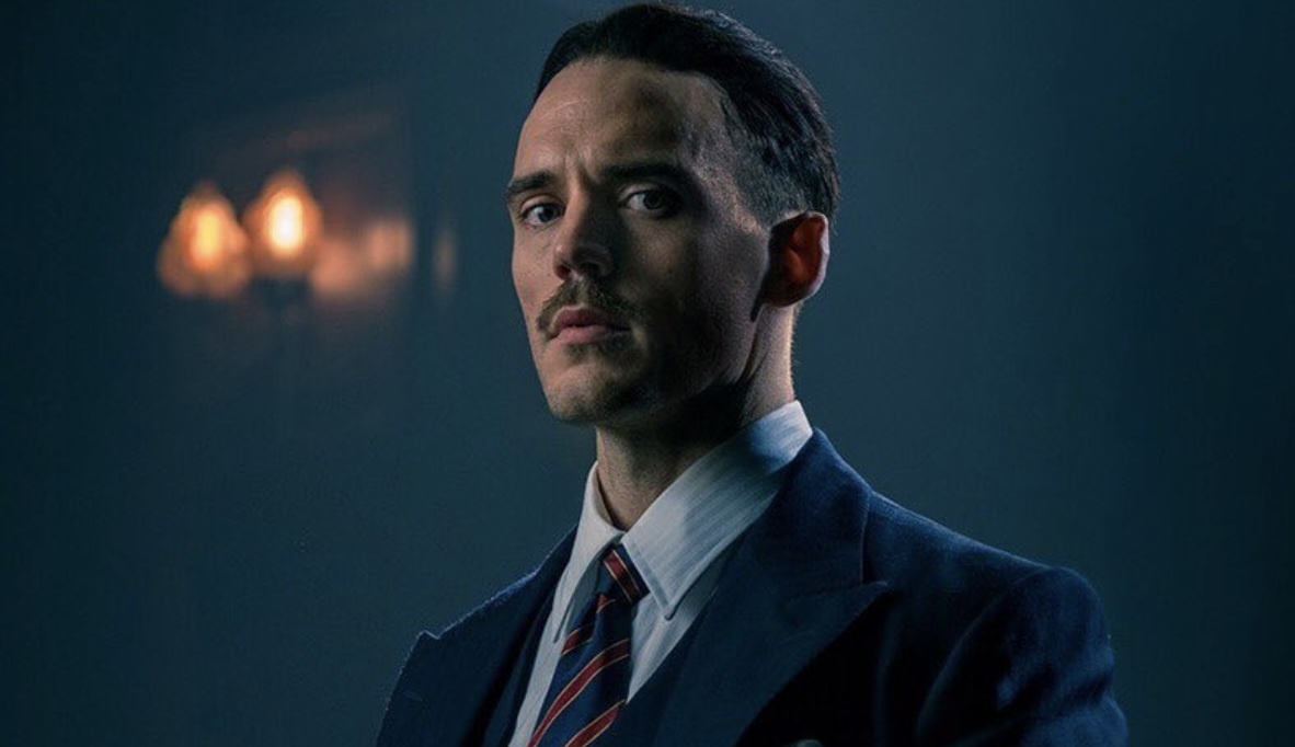 Sam Claflin as fascist leader Oswald Mosley in Peaky Blinder