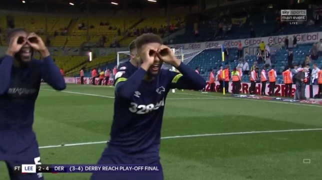 Derby players trolled Leeds with a 'spygate' celebration after the win