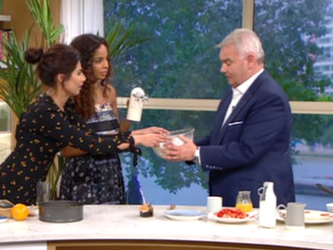 Rochelle Humes accidentally ruins Eamonn Holmes' suit in Ruby Bhogal's 'car crash' cooking segment