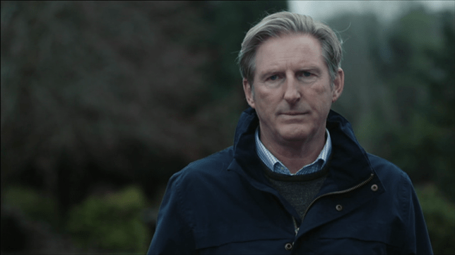 Ted Hastings at the cemetery where John Corbett is buried on Line Of Duty