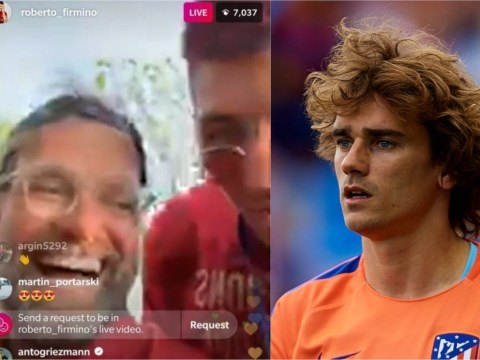 Antoine Griezmann sends message to Roberto Firmino during Liverpool's Champions League parade
