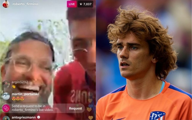 Antoine Griezmann was checking out Roberto Firmino's live video during Liverpool's Champions League parade