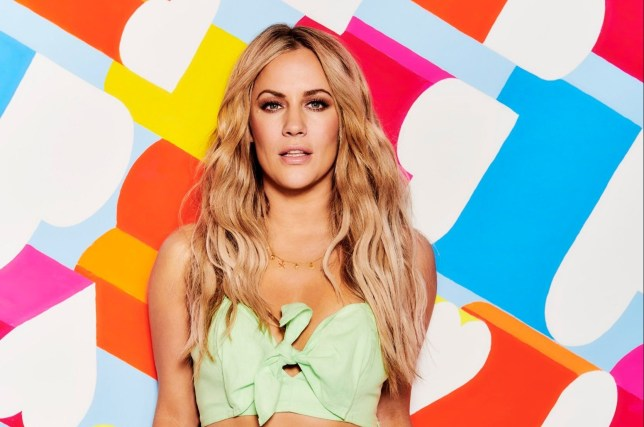 Caroline Flack posing for Love Island 2019 photoshoot
