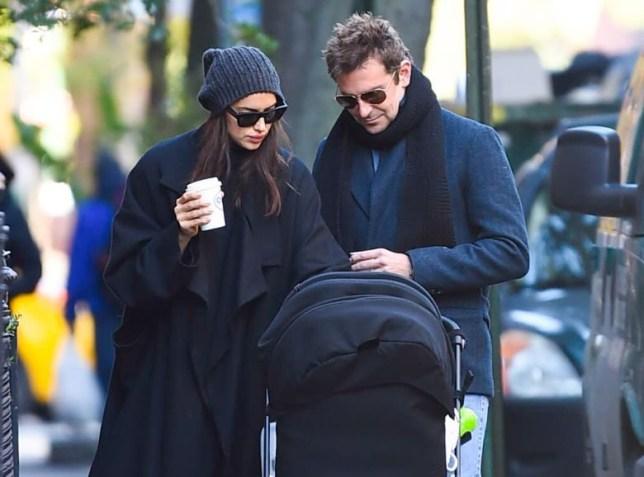 Irina Shayk and Bradley Cooper with daughter