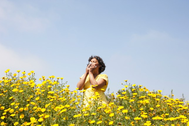 Woman in field of flowers enjoying scent
