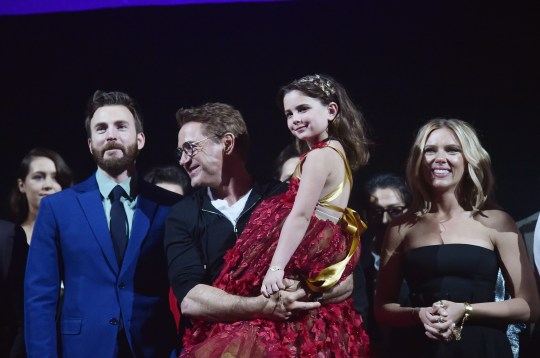Robert Downey Jnr with Lexi Rabe, Chris Evans and Scarlett Johansson