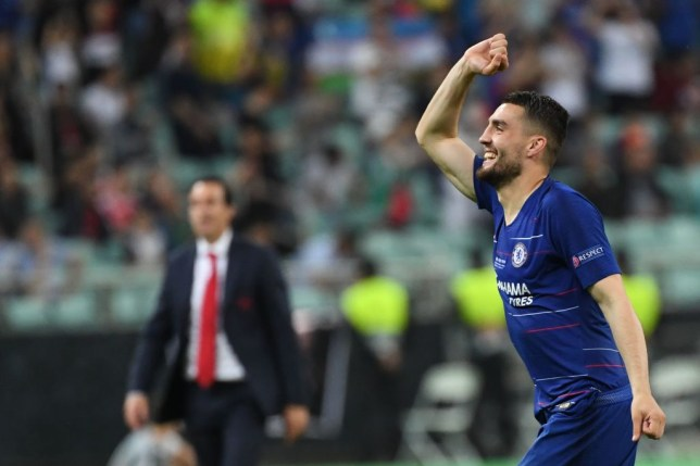 Chelsea's Croatian midfielder Mateo Kovacic reacts after winning the UEFA Europa League final football match between Chelsea FC and Arsenal FC at the Baku Olympic Stadium in Baku, Azerbaijian, on May 29, 2019. (Photo by Kirill KUDRYAVTSEV / AFP) (Photo credit should read KIRILL KUDRYAVTSEV/AFP/Getty Images)