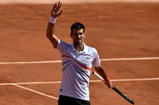 Novak Djokovic celebrates after reaching the French Open last-16