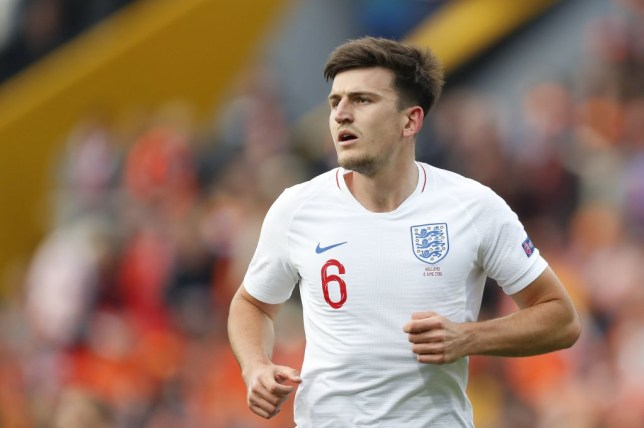 Manchester United target Harry Maguire looks on while playing for England