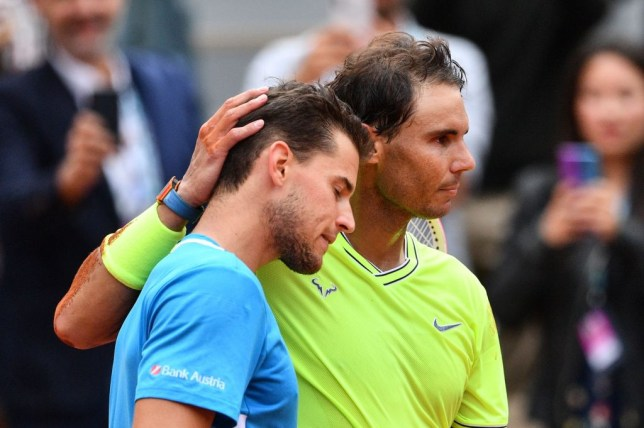 Rafael Nadal comforts Dominic Thiem after his French Open final defeat