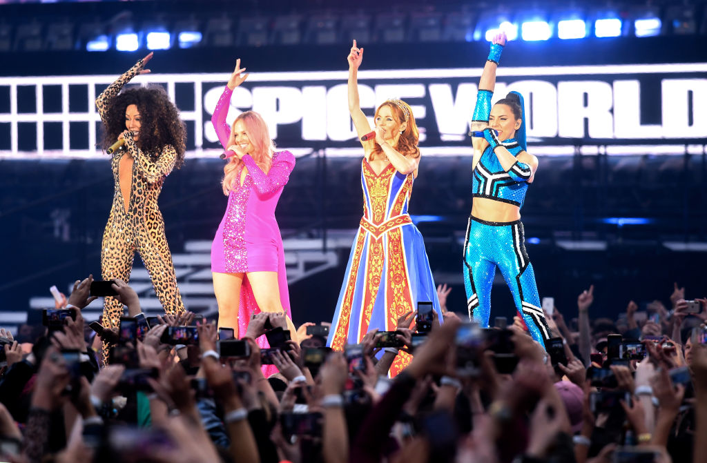 The Spice Girls perform on theatre during Croke Park