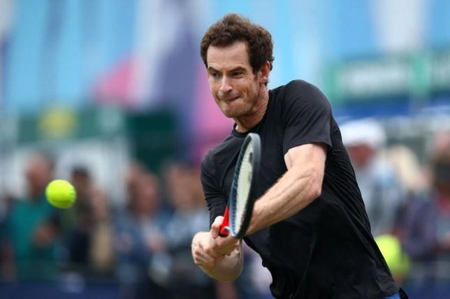 Andy Murray hits a backhand ahead of Wimbledon