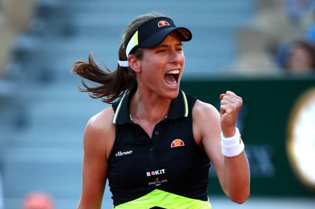 Johanna Konta celebrates after reaching the French Open last-16