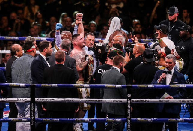 Andy Ruiz celebrated as there was confusion in the Anthony Joshua camp