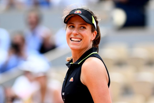 Johanna Konta smiles after her latest French Open win
