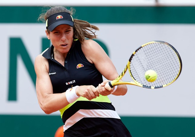 Johanna Konta hitting a backhand at the French Open