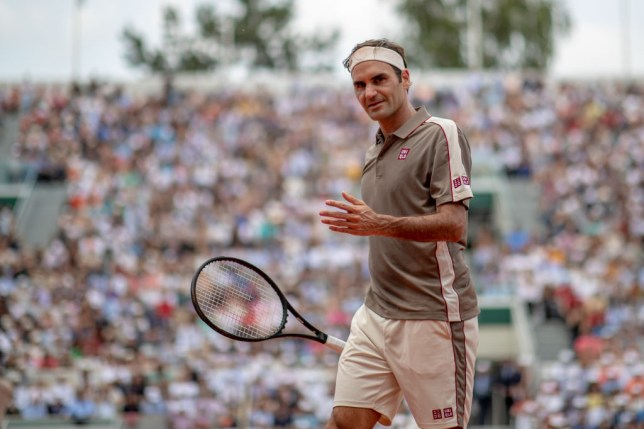 Roger Federer looks on at the French Open