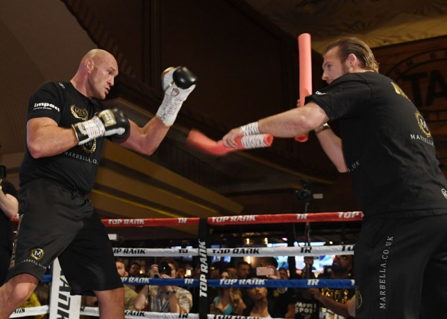 LAS VEGAS, NEVADA - JUNE 11: Boxer Tyson Fury (L) works out with his trainer Ben Davison at MGM Grand Hotel & Casino on June 11, 2019 in Las Vegas, Nevada. Fury will face Tom Schwarz in a heavyweight bout on June 15 at MGM Grand Garden Arena in Las Vegas. (Photo by Ethan Miller/Getty Images)