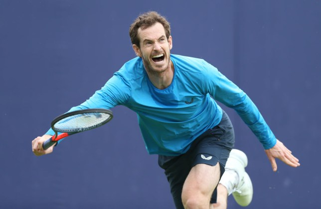 Andy Murray stretches for a ball while practising at Queen's
