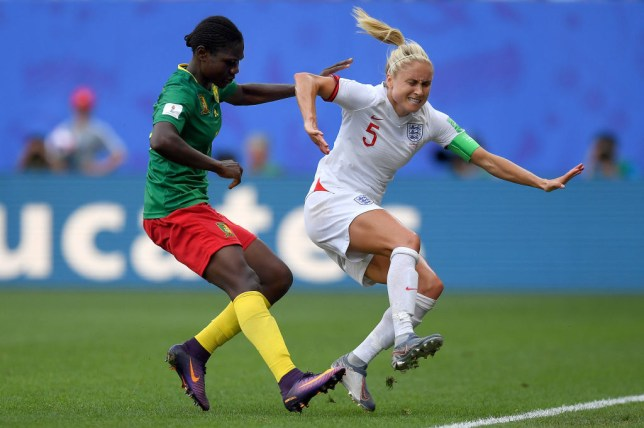 Steph Houghton was injured in the dying moments of England's win against Cameroon