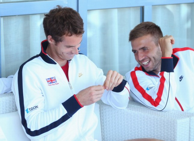 Dan Evans jokes with Andy Murray at the Davis Cup