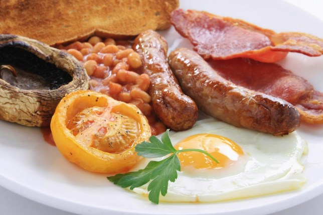 cooked English breakfast on white plate