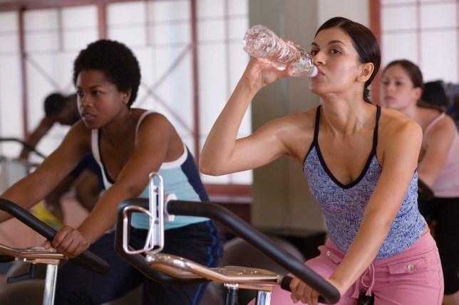 Women in a spinning class