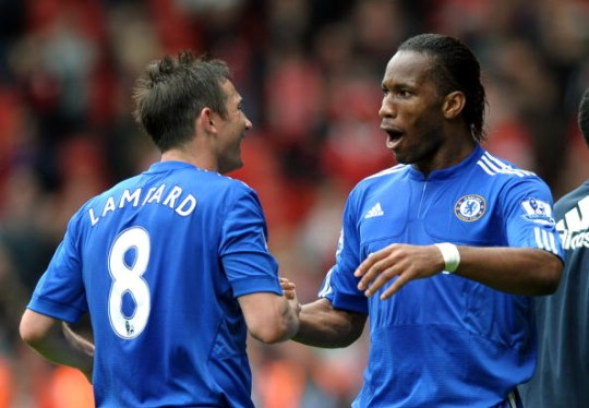 Frank Lampard celebrates with Chelsea team-mate Didier Drogba