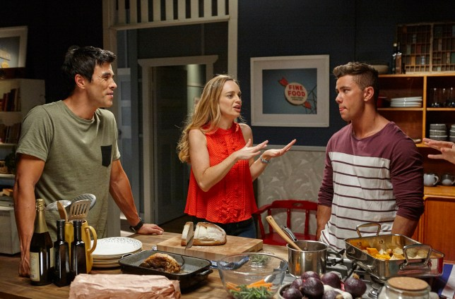 Justin (James Stewart), Tori (Penny McNamee) and Mason (Orpheus Pledger) at home